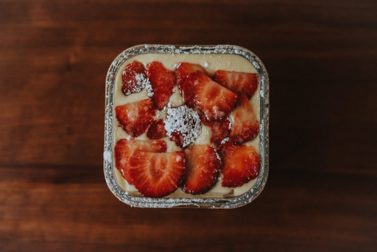 top view of strawberry tiramisu'