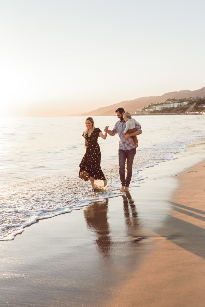 family portrait session on the beach during fall 2019